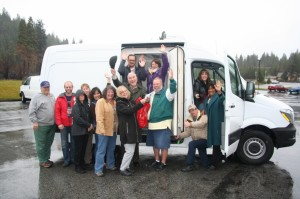 Caption:  Great Northern employees and Weed Rotary Club members celebrate the arrival of a new refrigerated van for the GNS Community Food Program.  A large donation to the Shasta Regional Community Fund Disaster Relief Program from an anonymous donor was designated for the purchase and supplemented by the Weed Rotary Club.