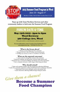 Poster for Forum event May 13th at Mt. Shasta Brewery 360 College Avenue 5 pm - 8 pm