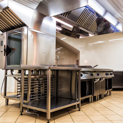 interior steel kitchen for professional chefs